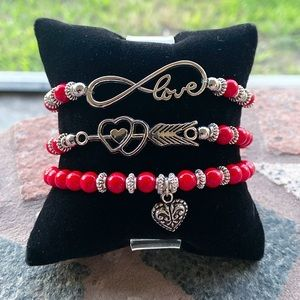 3 Valentine bracelets  + free angel wings earrings